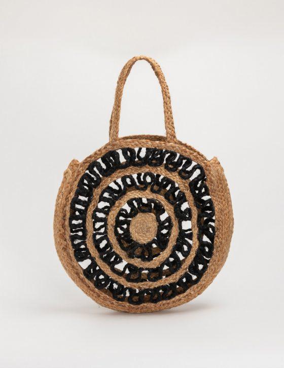 Στρογγυλή τσάντα γιούτα