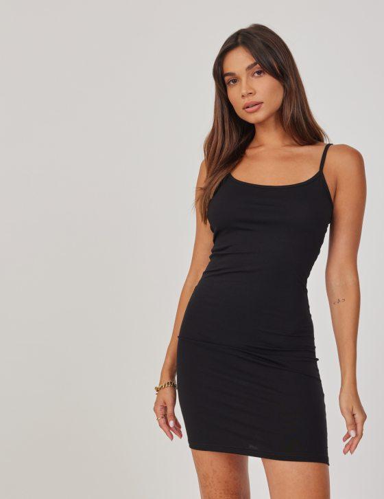Φόρεμα ελαστικό εφαρμοστό μίνι με λεπτό τιραντάκι