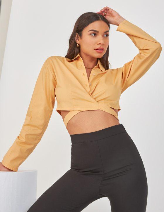 Γυναικείο πουκάμισο με κουμπιά εμπρός γιακά και δέσιμο στη μέση