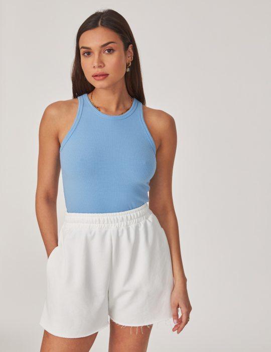 Γυναικεία αμάνικη ριπ μπλούζα με αθλητικό ριπ ελαστικό ύφασμα