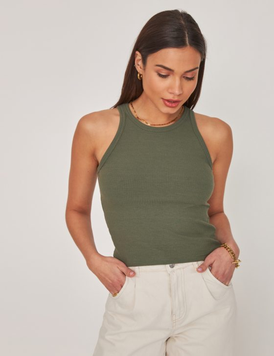 Γυναικεία ριπ μπλούζα με στρογγυλή λαιμόκοψη και ριπ ελαστικό ύφασμα
