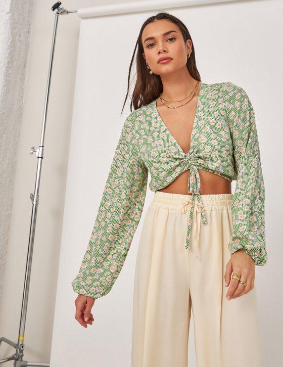 Γυναικεία φλοράλ print μπλούζα με μακρύ μανίκι και δέσιμο σούρες εμπρός
