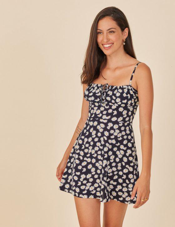 Φόρεμα με print σούρες στο ντεκολτέ και δέσιμο