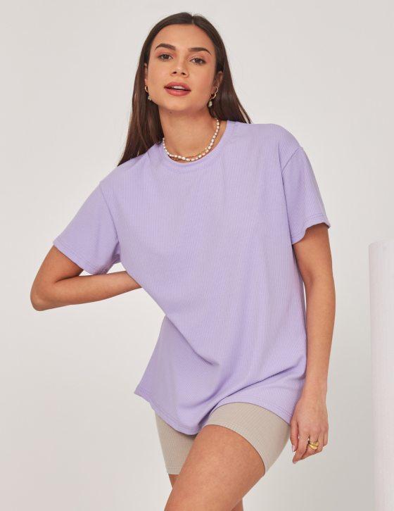 Γυναικεία μπλούζα ριπ μακρυά με φαρδιά ίσια γραμμή