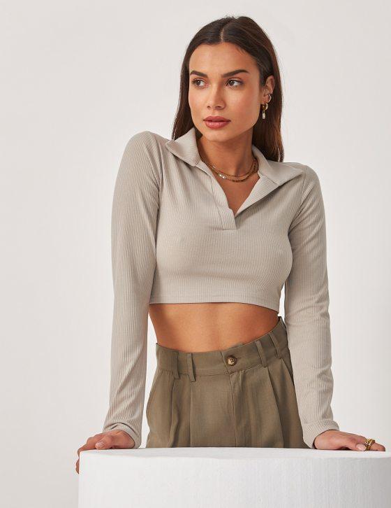 Γυναικεία ριπ μπλούζα με γιακά και V λαιμόκοψη και μακρύ μανίκι