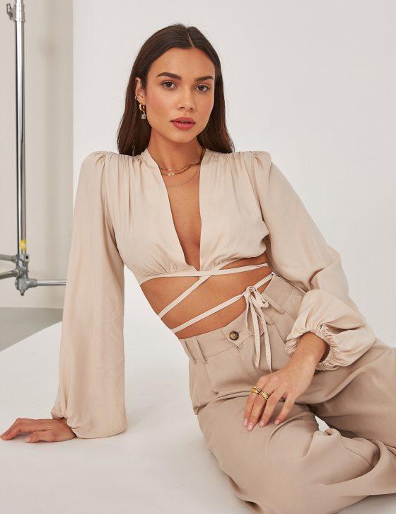 Γυναικεία μπλούζα με φαρδύ μανίκι και δέσιμο εμπρός και στην πλάτη