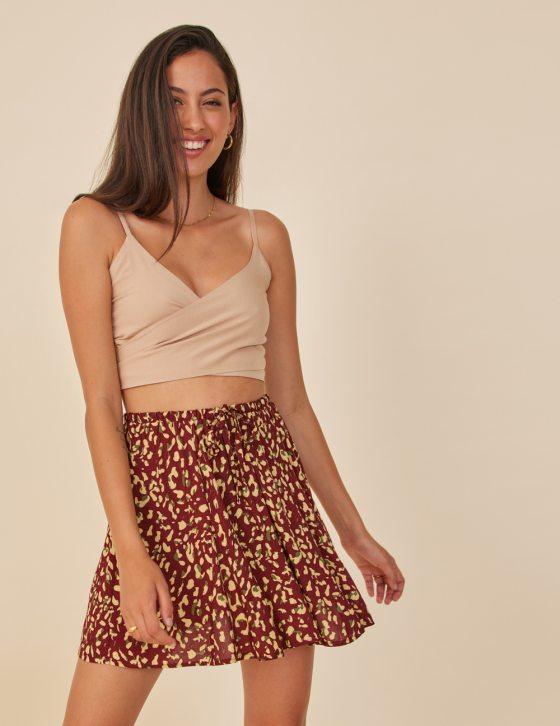 Φούστα με print κορδόνι δέσιμο στη μέση