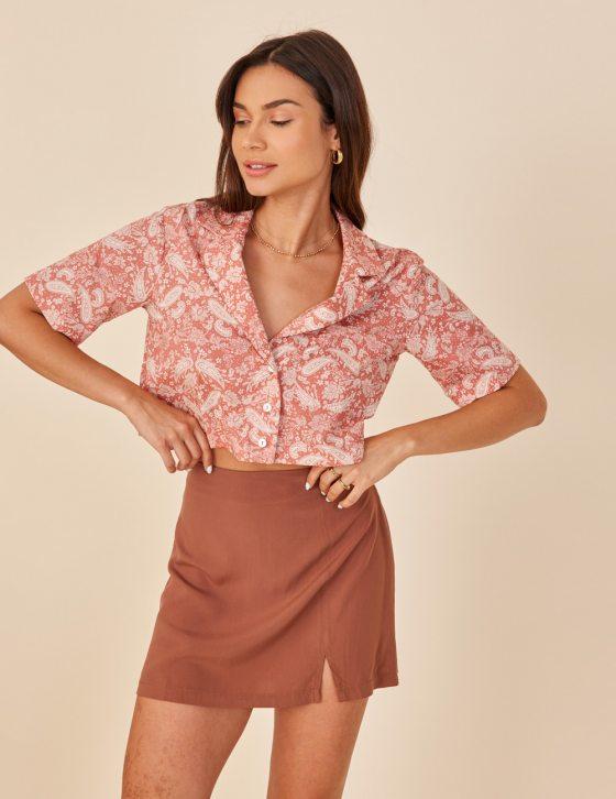 Γυναικείο κοντό πουκάμισο με λαχούρι print γιακά και κουμπιά εμπρός