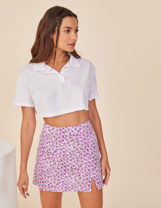 Γυναικεία μπλούζα κοντή με γιακά και κουμπιά
