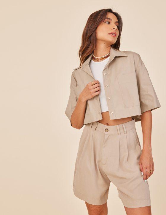 Γυναικείο πουκάμισο oversized με κουμπιά