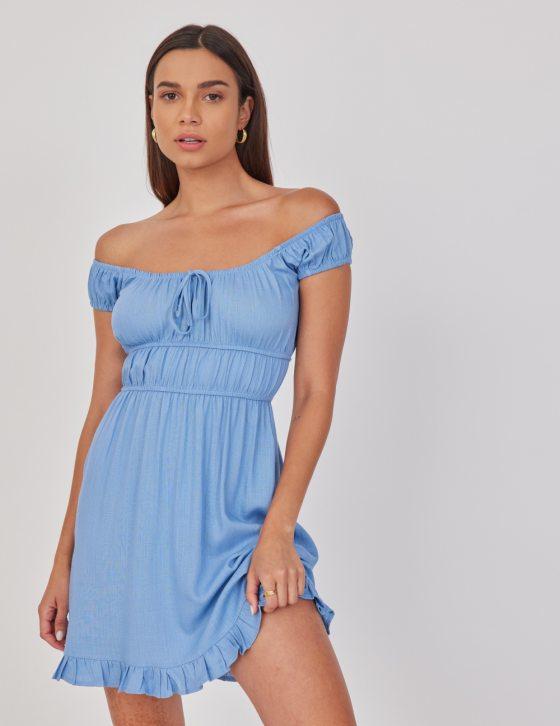 Φόρεμα λινό κοντό με κορδόνι εμπρός και κοντό μανίκι