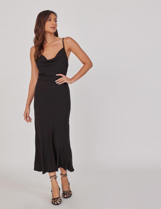 Φόρεμα μακρύ lingerie με τιράντες ρυθμιζόμενες