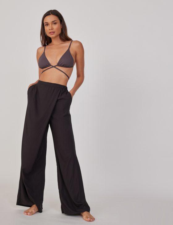 Γυναικείο παντελόνι με κρουαζέ με φαρδιά ριχτή εφαρμογή
