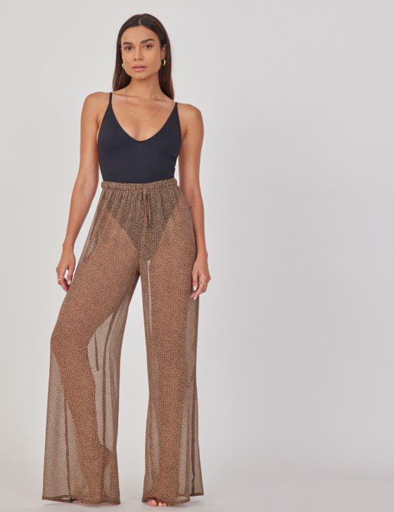 Γυναικεία παντελόνα με διαφάνεια και print με λάστιχο και κορδόνι στη μέση