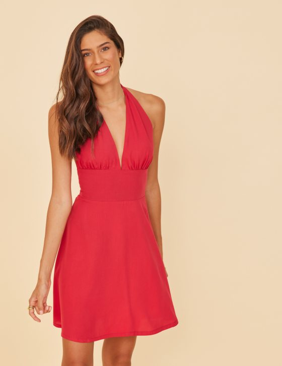Φόρεμα κοντό με halter λαιμόκοψη και τετράγωνη ανοιχτή πλάτη