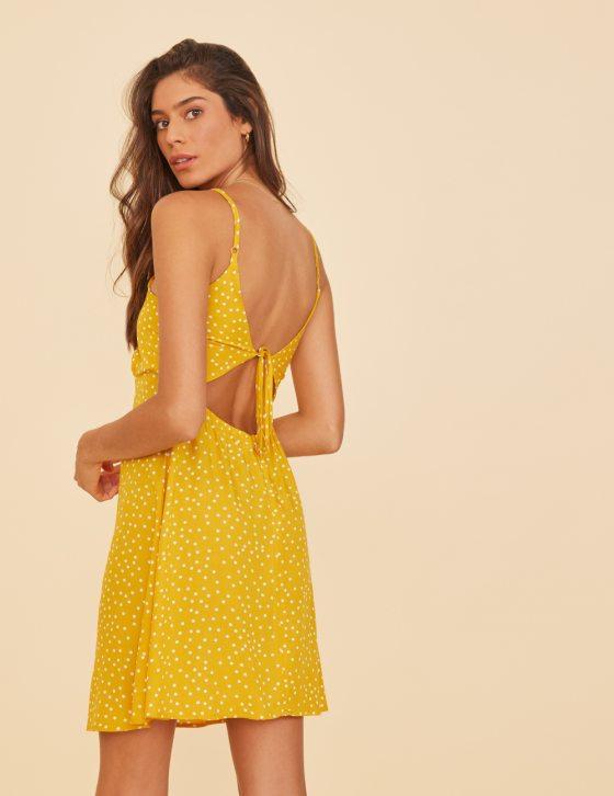 Φόρεμα δέσιμο πλάτη με πουά print κοντό