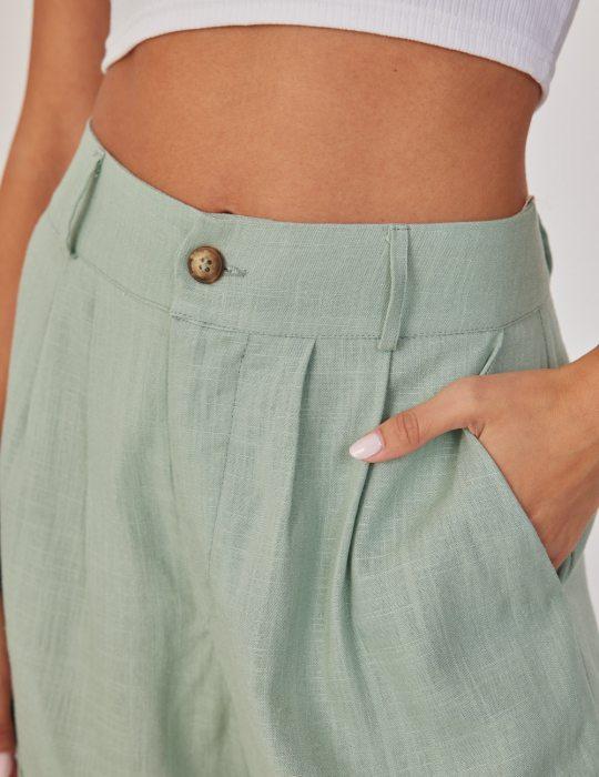 Γυναικείο λινό κοντό σορτς με κουμπί ψηλόμεση