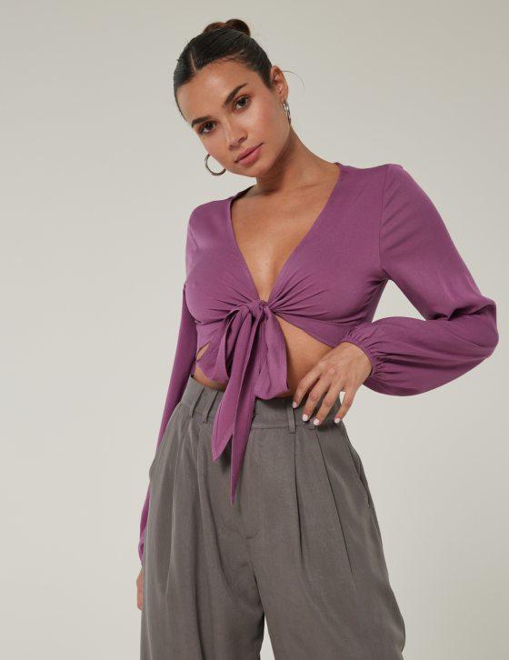 Γυναικεία μπλούζα μακρυμάνικη με λάστιχο στο μανίκι