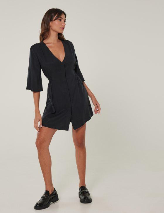 Φόρεμα κοντό με κρυφά κουμπιά εμπρός