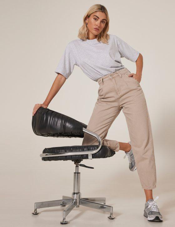 Γυναικείο παντελόνι slouchy ψηλόμεσο