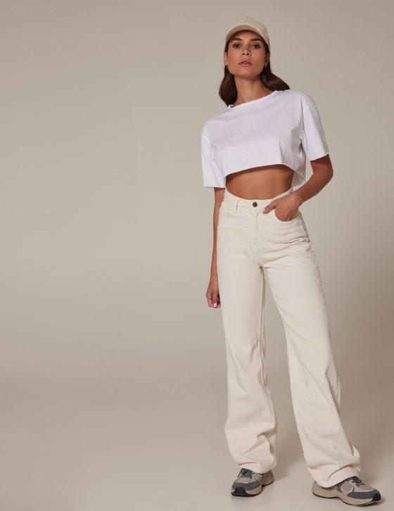 Γυναικείο ψηλόμεσο τζιν παντελόνι με άνετο μπατζάκι