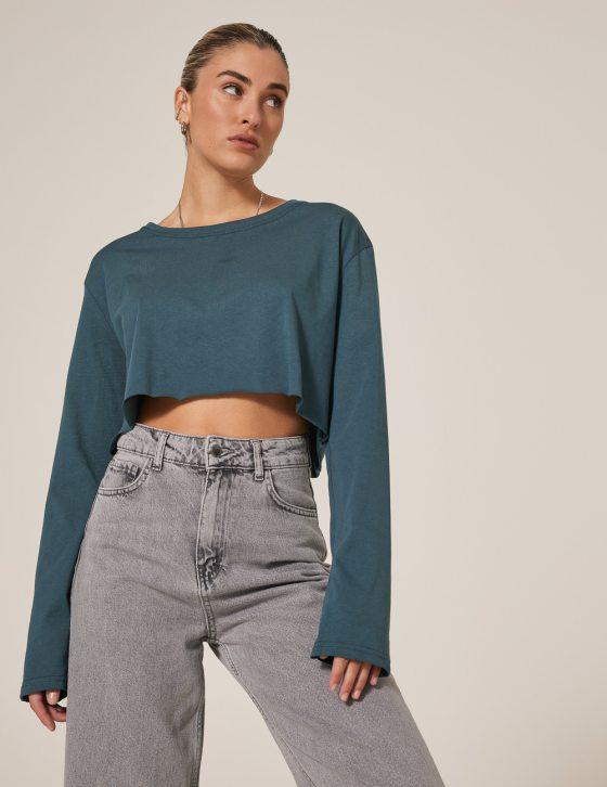 Γυναικεία μπλούζα με στρογγυλή λαιμόκοψη ριχτό
