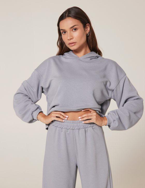 Γυναικεία φούτερ μπλούζα κοντή με ξέφτια στο στρίφωμα