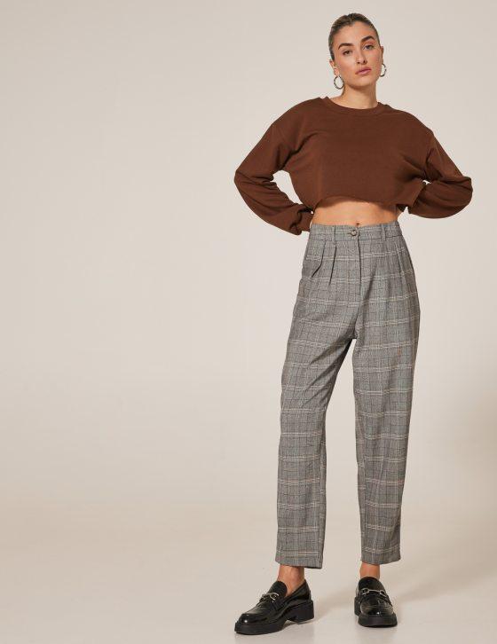 Γυναικείο καρό παντελόνι ψηλόμεσο με πιέτες με κουμπί