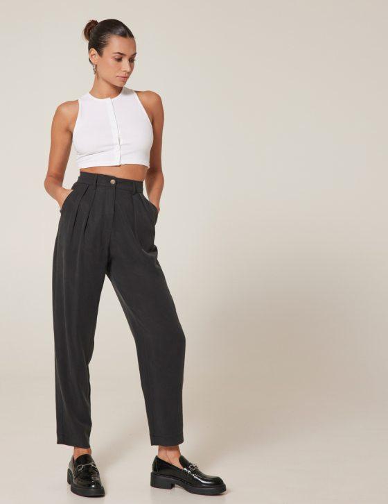 Γυναικείο παντελόνι ψηλόμεσο με πιέτες και τσέπες
