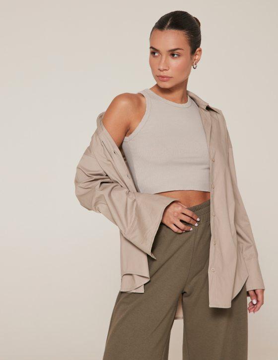 Γυναικείο πουκάμισο με γιακά και μακρύ μανίκι με κουμπί