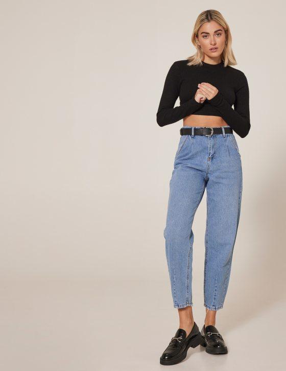 Γυναικείο ανοιχτόχρωμο τζιν παντελόνι ψηλόμεσο
